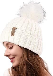 Womens Knitted Winter Pom Beanie Hat Faux Fur Pom Pom Bobble Hat Beanie for Girls