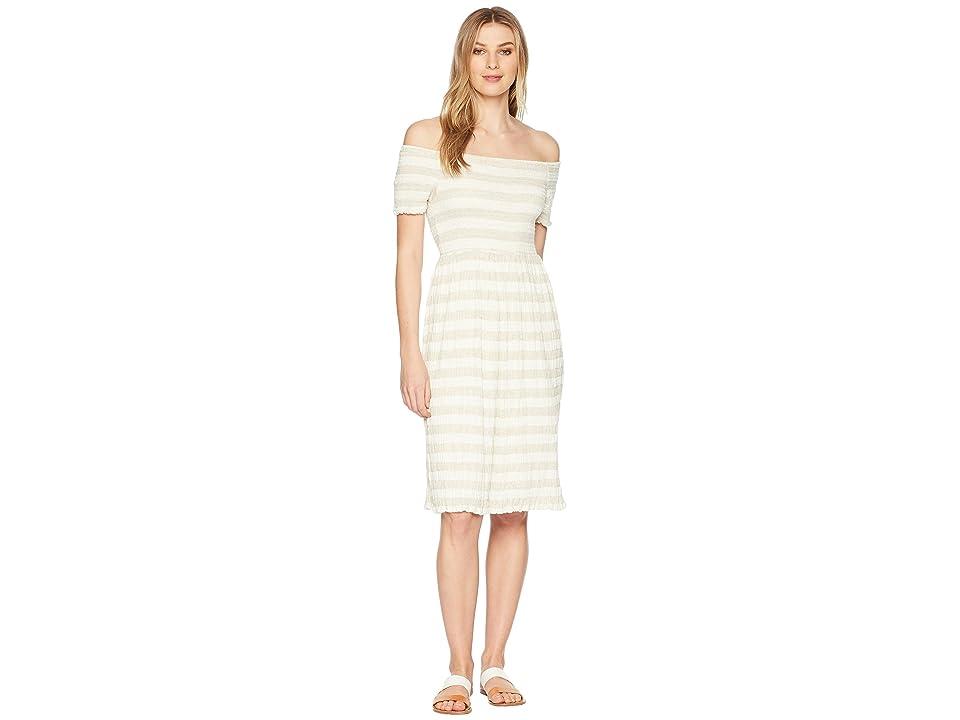 Lucky Brand Stripe Smocked Dress (Natural Multi) Women