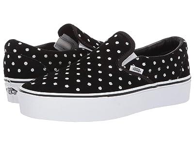 Vans Classic Slip-On Platform ((Suede Polka Dot) Black/True White) Slip on Shoes