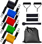 AUROR 11 Pcs Resistance Bands Set, Fitness Stretch Workout Resistance Tube Straps for Men Women, Shoulder, Legs, Arm and Glutes Ideal Exercise Band for Physical Therapy, Strength