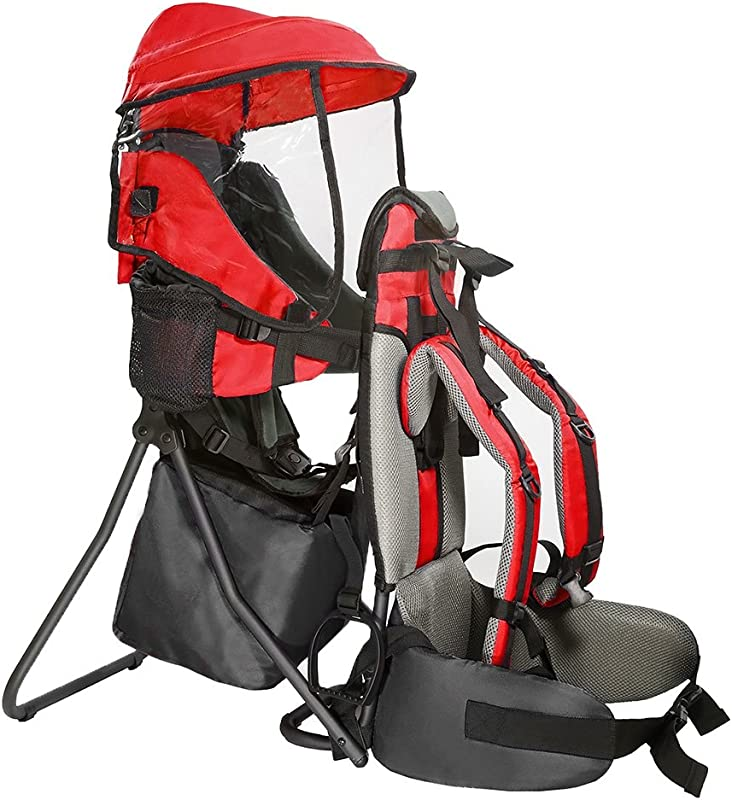 Clevr Premium Cross Country Baby Backpack Hiking Child Carrier With Stand And Sun Shade Visor Kid Toddler Red Lightweight 5lbs 1 Year Limited Warranty