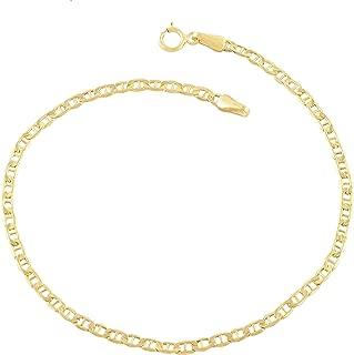 Verona Jewelers 14K Gold Anklets for Women. 14K 10 Inch Anklet, Gold Flat Mariner Anklet, 14K Gold Box Chain