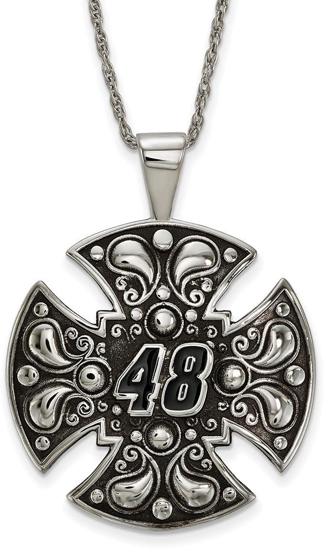 Beautiful St Steel En Ant LogoArt NASCAR  48 Jimmie Johnson Cross w 2in ext Necklace