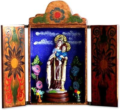 "NOVICA 141336"" Our Lady of Mount Carmel Wood Retablo"