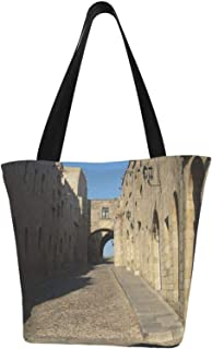 AKLID Ancient Greek Architectural Castle Extra Large Water Resistant Canvas Tote Bag for Gym Beach Travel Reusable Grocery...