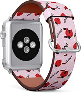 Compatible with Apple Watch 42/44mm (Big) - Replacement Accessory Leather Band Strap Bracelet Wristbands with Adapters (La...