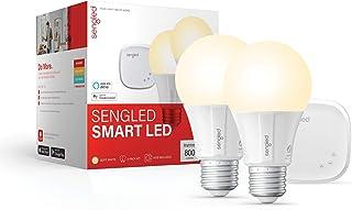 کیت Starter Smart LED Soft White A19 ، 2700K 60W معادل ، 2 لامپ و مرکز توپی ، با دستیار Alexa و Google کار می کند
