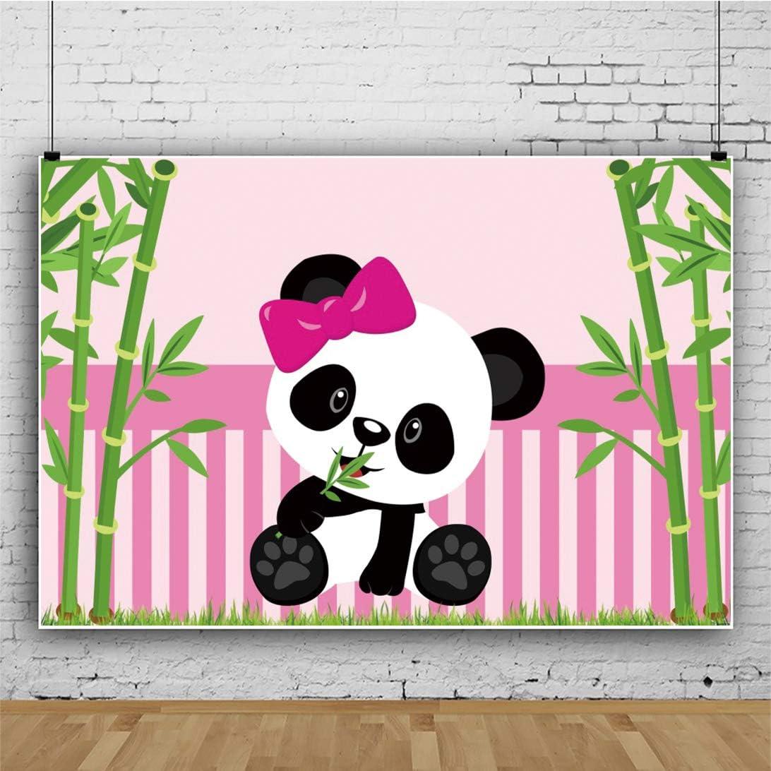 DASHAN 5x3ft Polyester Panda Backdrop Panda Birthday Party Baby Cake Smash 1st Birthday Bamboo Panda Baby Shower Gender Reveal Photography Background Panda Background for Party YouTube Photo Props