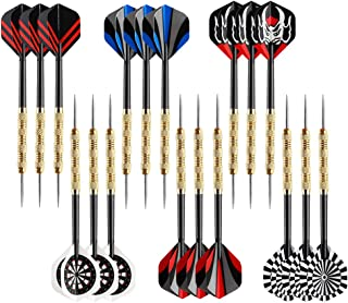 6 Pack Red /& Blue Steel Tip Brass Dart Set Plastic Dart Flight Throwing Toy WY