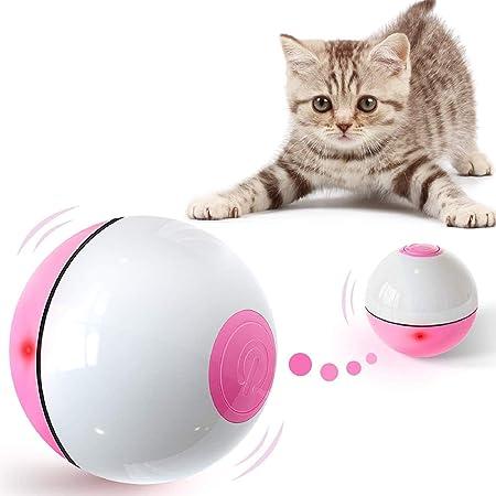 interaktives Spielzeug automatischer Rollball mit USB-aufladbarem Licht FIRIK Katzenspielzeug mit Abnehmbarer Feder für Katzen und Hunde