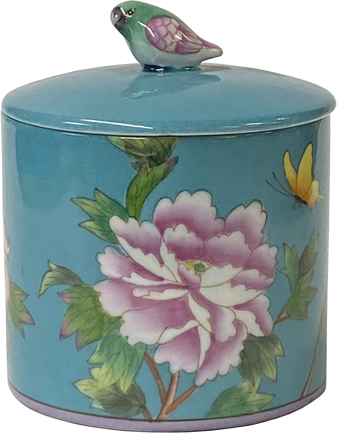 Contemporary Teal Blue Green Flower Box Round Painting Porcelain Tucson Max 78% OFF Mall