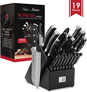 19-Piece Premium Kitchen Knife Set With Wooden Block   Master Maison German Stainless Steel Cutlery With Knife Sharpener & 8 Steak Knives