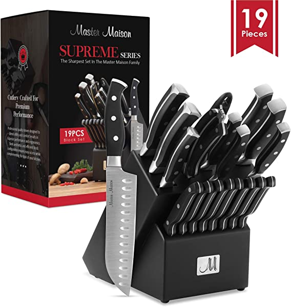 19 Piece Premium Kitchen Knife Set With Wooden Block Master Maison German Stainless Steel Cutlery With Knife Sharpener 8 Steak Knives