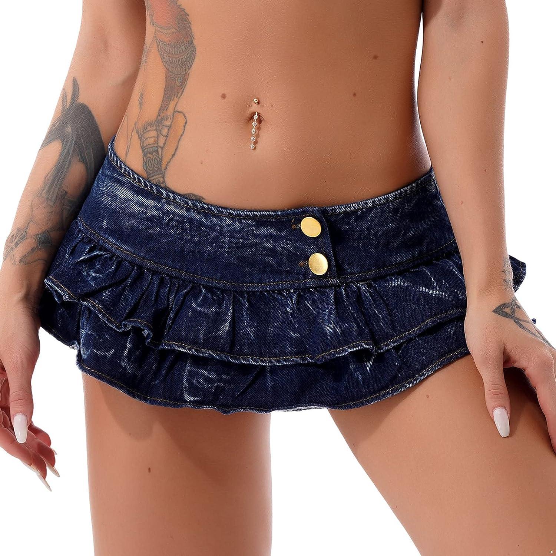 Hularka Women's Casual Slim A-line Pleated Ruffle Short Mini Denim Skirts Low Waist Button Skirts