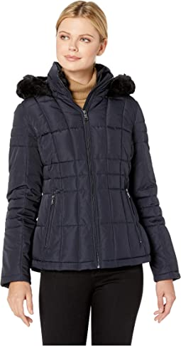 e4291f90587 Larry levine short diamond quilted down coat w faux fur trim loden ...
