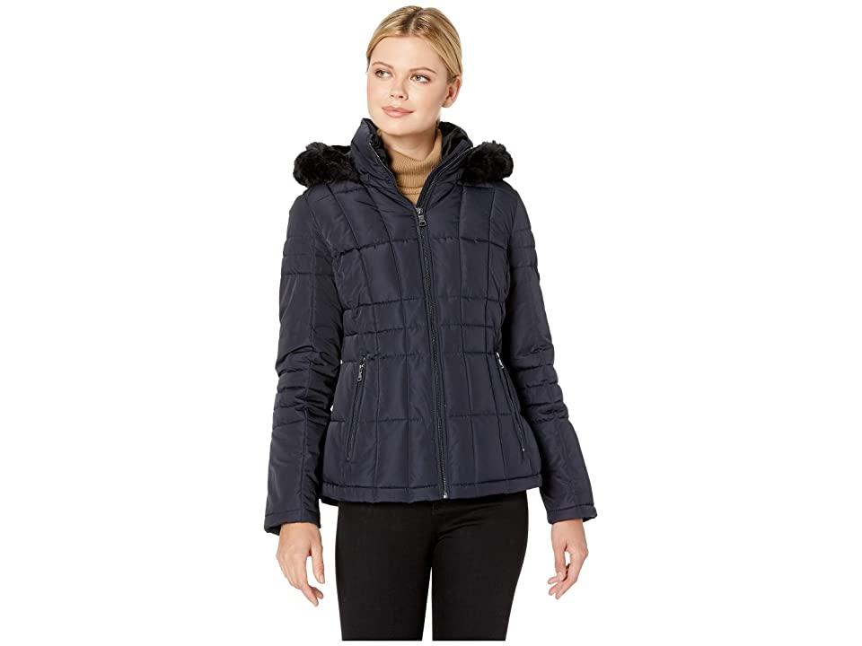 Calvin Klein Short Faux Fur Trimmed Traditional Box Quilt Down (Navy) Women