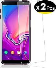 NEW'C Lot de 2, Verre Trempé pour Samsung Galaxy J6 Plus, Film Protection écran - Anti Rayures - sans Bulles d'air -Ultra Résistant (0,33mm HD Ultra Transparent) Dureté 9H Glass