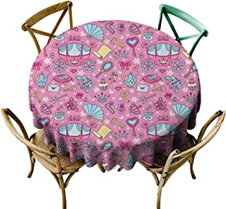 Mannwarehouse Teen Girls Decor Collection Waterproof Tablecloth Pattern of Cute Carriage with Teapots Cups Necklace Perfume Shoes Envelope Image Easy Care D71 Pink