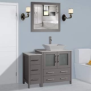 Vanity Art 42 inch Single Sink Bathroom Vanity Combo Set 5-Drawers, 1-Shelf, 2 Cabinet White Quartz Top and Ceramic Sink Bathroom Cabinet with Free Mirror - VA3130-42-G