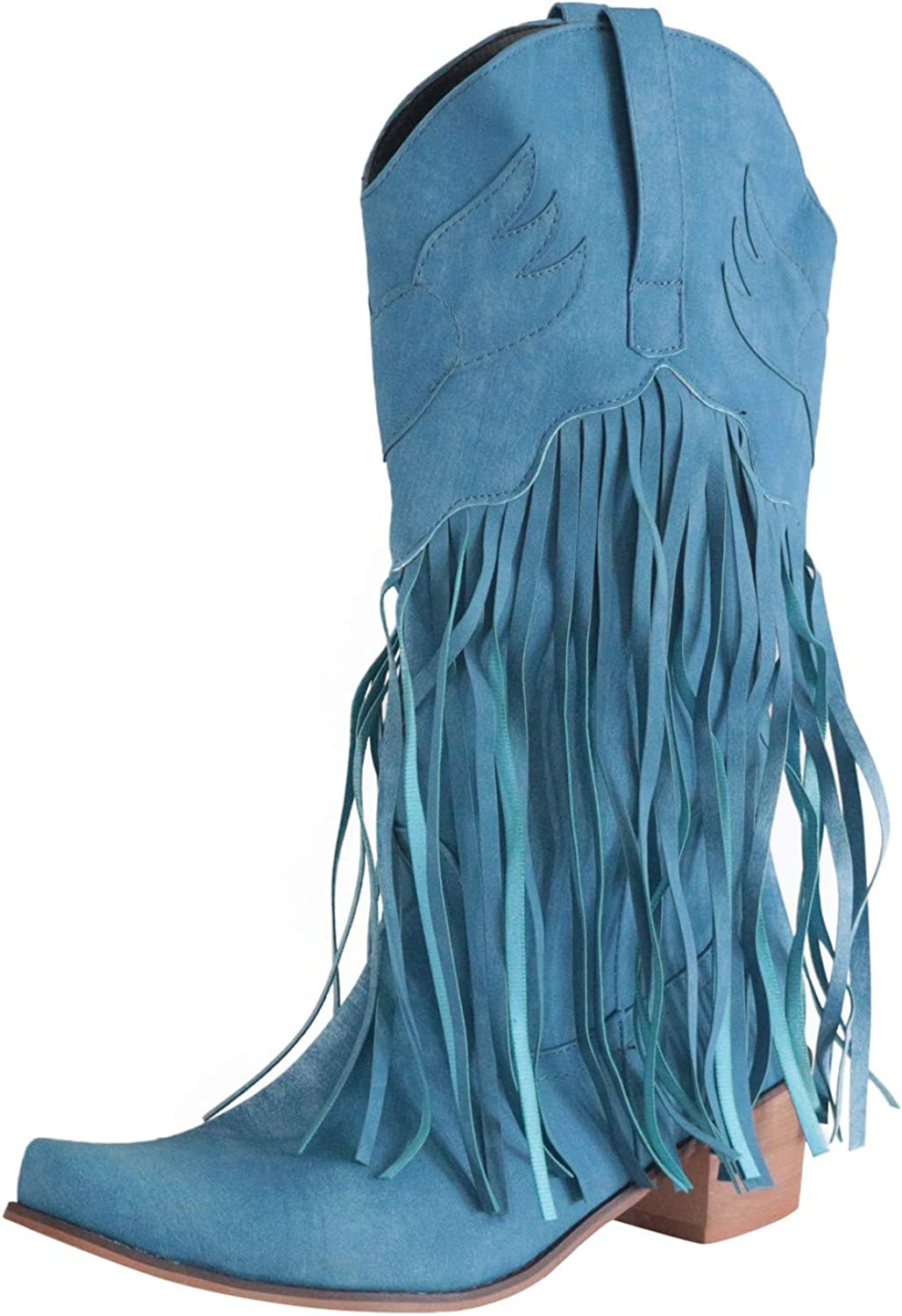 FEISI22 Women's Western Ankle Tassel Boots Cowboy 通販 激安◆ 超安い with