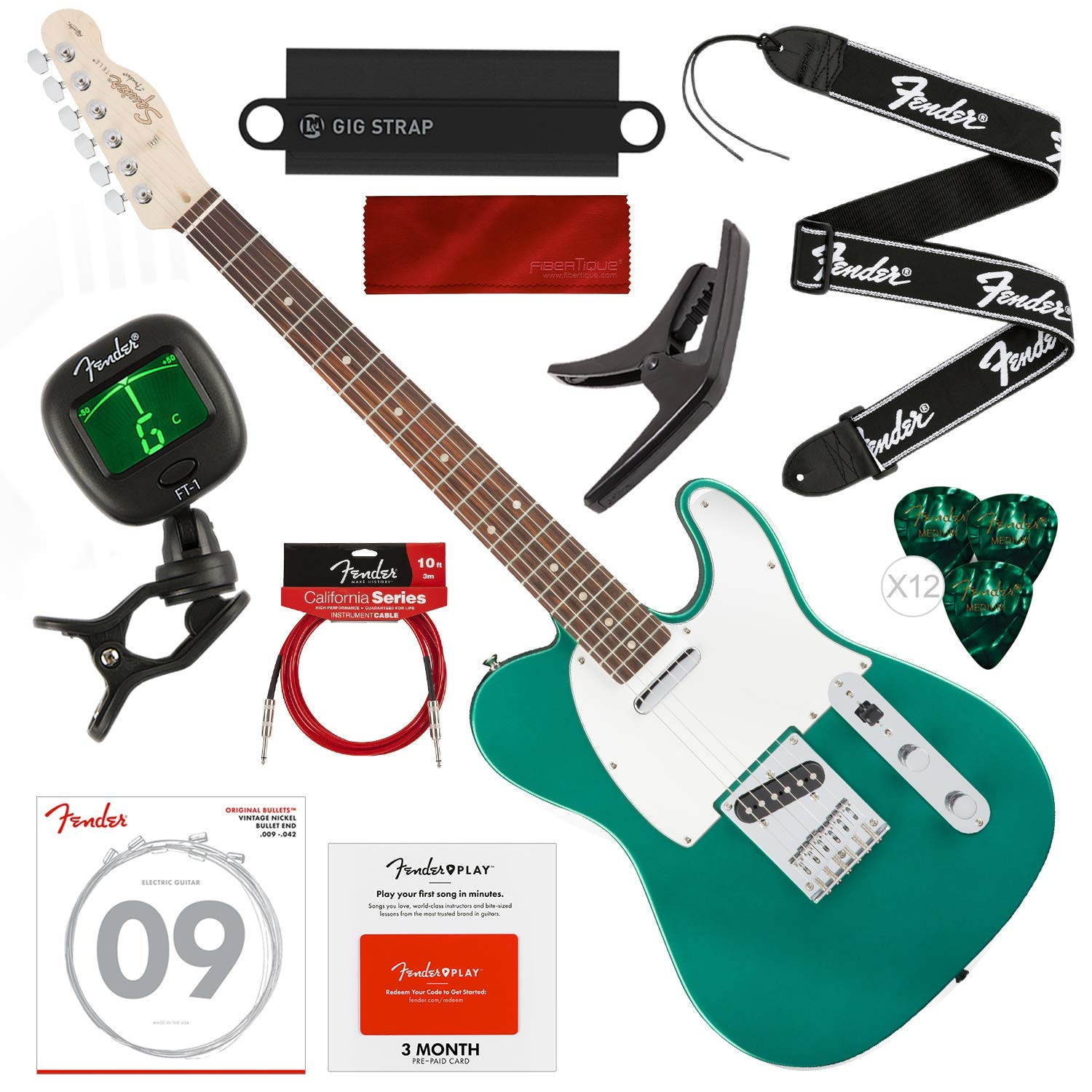 Cheap Squier by Fender Affinity Series Telecaster Beginner Electric Guitar Race Green with Fender Play Pre-Paid Card Tuner Strap Strings Picks Cable & Deluxe Starter Pack Bundle Black Friday & Cyber Monday 2019