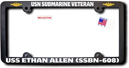 USN Sub Vet USS ETHAN ALLEN (SSBN-608) License Frame w/REFL TEXT & GOLD DOLPHINS (Officers)