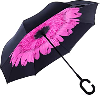 CarBoys 逆転傘 逆さ傘 逆折り式傘 自立傘 長傘 手離れC型手元 耐風 撥水加工 晴雨兼用 ビジネス用 車用 UVカット 遮光遮熱 傘袋/ケース付き(春の桃)
