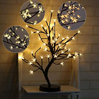 20in Bonsai Tree Light, 48 Cherry Blossom LEDs Tree Light Crystal Flower Table Lamp Battery Operated for Home Party Wedding Festival Decorations, Warm White
