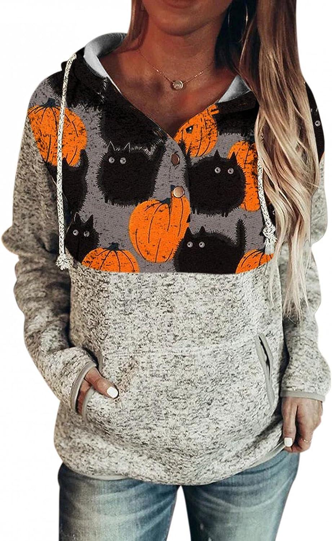 AODONG Halloween Shirts for Women,Women's Long Sleeve Hoodies Sweaters Button Loose Drawstring Pullover Sweatshirts