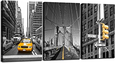 sechars - Black and Yellow New York City Wall Art Taxi Brooklyn Bridge Picture Photo Canvas Print Art with Wood Frame,Modern Home Office Wall Decoration Giclee Print Framed Art