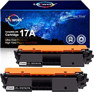 Best Uniwork Compatible Toner Cartridge Replacement for HP 17A CF217A use for Laserjet Pro M102w M130fw, Laserjet Pro MFP M130fw M130nw M130fn M130a Printer, 2 Black (with Chip) Review