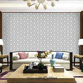 Lionpapa_mural Removable Wall Mural Ideal to Decorate Bedroom,or Office,Monochrome Eastern Inspired Star Pattern Tangled Geometric Lines Arabic Elements Decorative,Home Decor - 66x96 inches