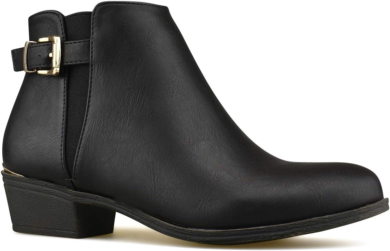 Premier Standard - Women's Elastic Side Panel Ankle Bootie - Buckle Closed Toe Bootie- Low Heel Casual Walking Boot