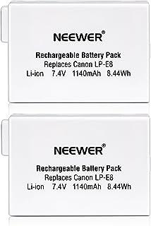 Neewer - Batería de Repuesto Recargable para Canon EOS 550D 600D 650D 700D Digital Rebel T2i T3i T4i T5i (2 Unidades ión de Litio 74 V 1140 mAh)