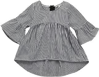 Goodlock Toddler Kids Infant Fashion Dress Baby Girls Clothes Stripe Princess Tops Outfits Dress