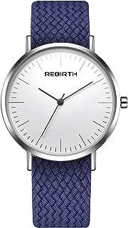 Men's Quartz Watch Business Analog Watch with Canvas Belt White Thin Dial Unique Watch