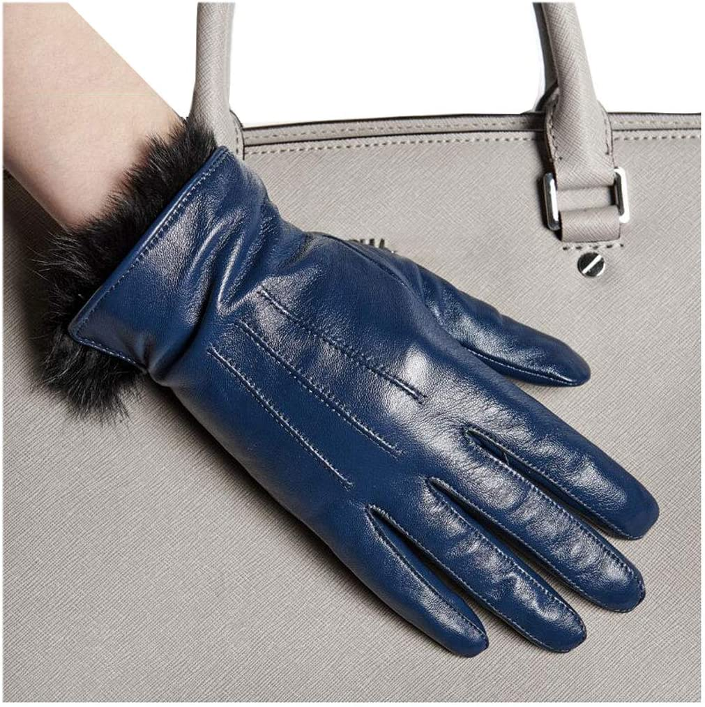 Gloves Driving Touch Screen Treasure Blue Ladies Plus Velvet Thick Warm Winter Five Full Finger Riding MUMUJIN (Size : XL)