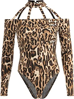 ab4e28a59c9 HGbeauty Erotic Underwear Standing Collar Jumpsuit Hollow Onesies Sexy  Corset Hanging Neck Women s Clothing (Color   Leopard