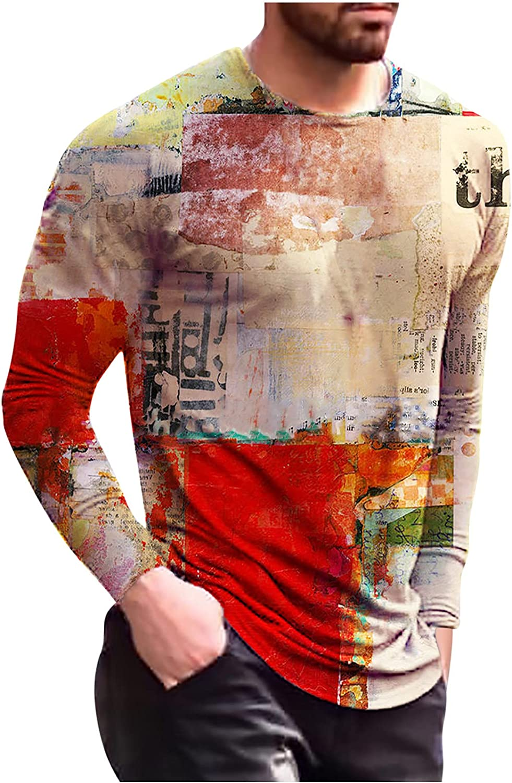 Bravetoshop 3D Printed T-Shirt for Men, Men's Novelty Graphic Long Sleeve Tee Tops Slim Fit Crewneck Shirt Blouse