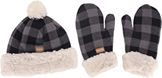 Women's Classic Winter Fleeced Thermal Pom Pom Beanie Hat and Mittens Set