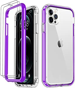 DorisMax iPhone 12 Pro Max Case,with [2 x Glass Screen Protector],Crystal Clear TPU Cover+Hard PC Bumper,Military Grade Shockproof Protective Phone Case for Apple iPhone 12 Pro Max 6.7