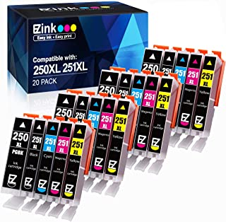 E-Z Ink (TM) Compatible Ink Cartridge Replacement for Canon PGI-250XL PGI 250 XL CLI-251XL CLI 251 XL to use with PIXMA MX922 MG5520 (4 Large Black, 4 Cyan, 4 Magenta, 4 Yellow, 4 Small Black) 20 pack