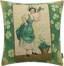 TRENDIN 18 X 18 Vintage Happy ST. Patrick's Day Green Clover Girl Linen Cushion Cover Pillow Case Spring Décor(PL108)
