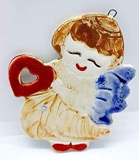 Angioletto Decorazione Natale da Appendere Albero Ceramica Handmade Le Ceramiche del Castello Made In Italy Dimensioni 18 ...