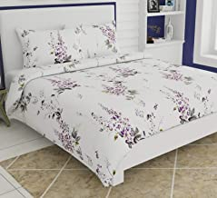 haus & kinder Garden Floral Magic Print, 100% Cotton, 186 Thread Count, Double Bedsheet with 2 Pillow Covers (Purple)
