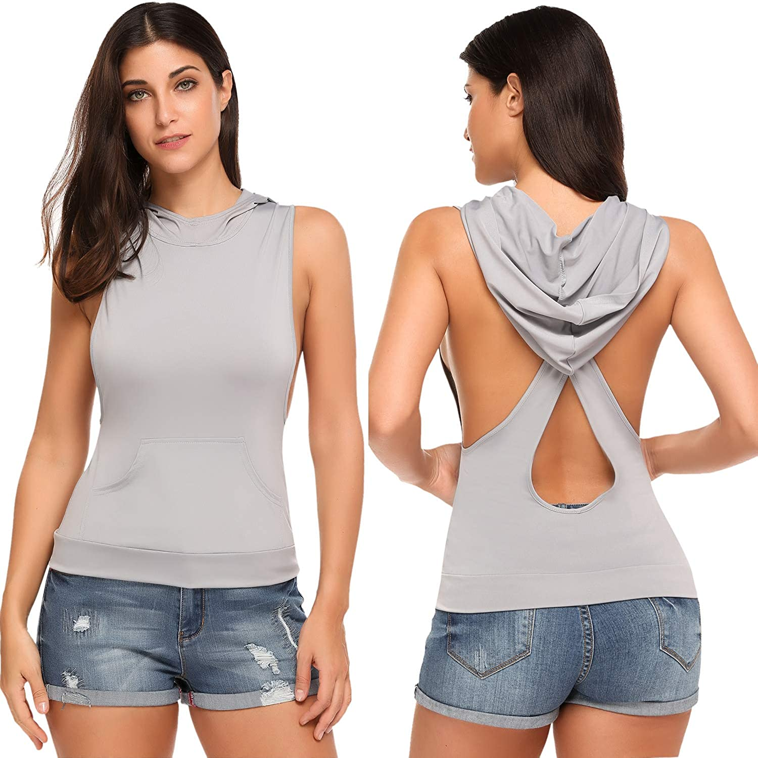 HOTOUCH Women Tank Top Sleeveless Hoodie Backless Hole TShirt with Pocket Sexy Workout Tops