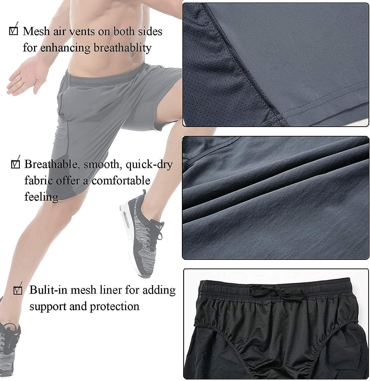LAZALAM Mens 7 Athletic Running Shorts Quick Dry Mesh Liner Zipper Pockets Traning Pace Shorts