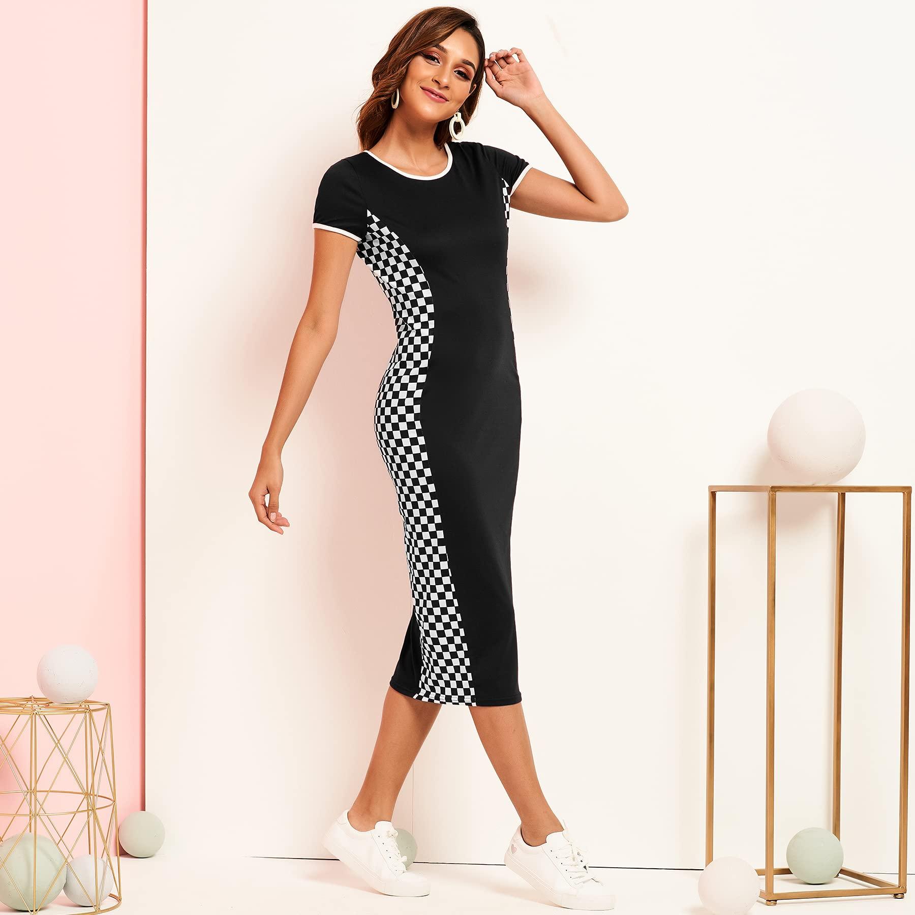 Fashion Women Dress Medi Dress Short Sleeve Tight Casual Party Beach