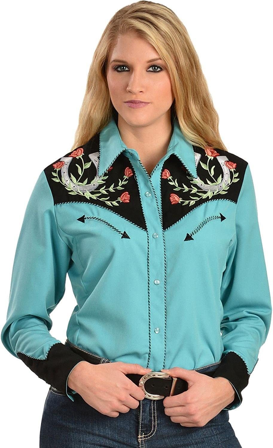 SCULLY Women's Horseshoe Embroidered Retro Western Shirt