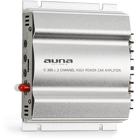 auna C300.2 - Amplificateur de Voiture , Ampli 2 canaux , Égaliseur réglable à Deux Bandes , 20 Hz - 20 kHz , Connexions Multiples , Châssis en métal , Argent